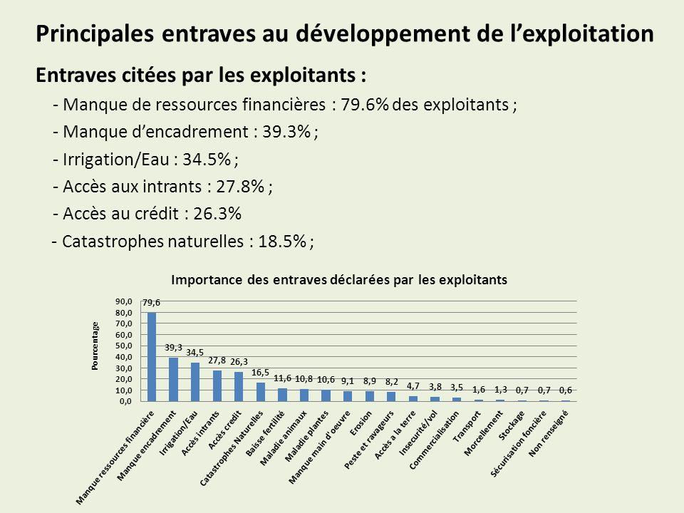 Principales entraves au développement de lexploitation Entraves citées par les exploitants : - Manque de ressources financières : 79.6% des exploitants ; - Manque dencadrement : 39.3% ; - Irrigation/Eau : 34.5% ; - Accès aux intrants : 27.8% ; - Accès au crédit : 26.3% - Catastrophes naturelles : 18.5% ; Importance des entraves déclarées par les exploitants