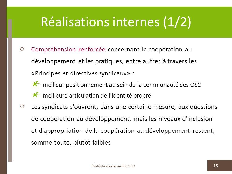 Réalisations internes (1/2) Compréhension renforcée concernant la coopération au développement et les pratiques, entre autres à travers les «Principes