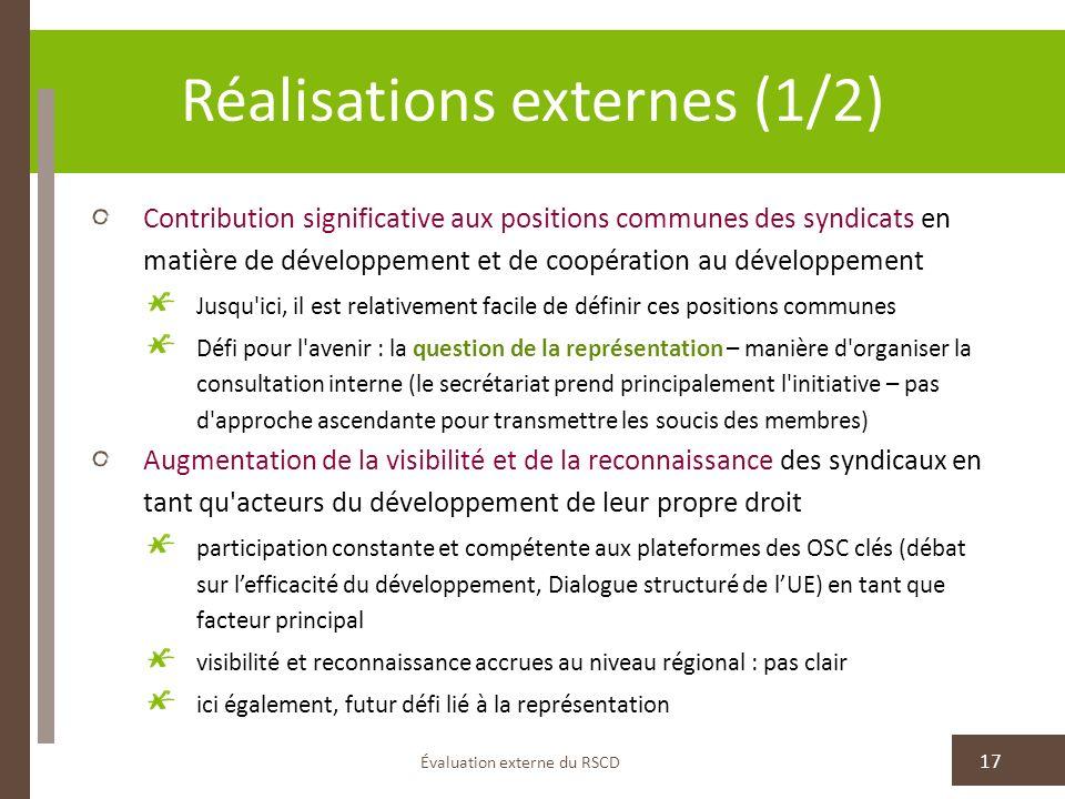 Réalisations externes (1/2) Contribution significative aux positions communes des syndicats en matière de développement et de coopération au développe