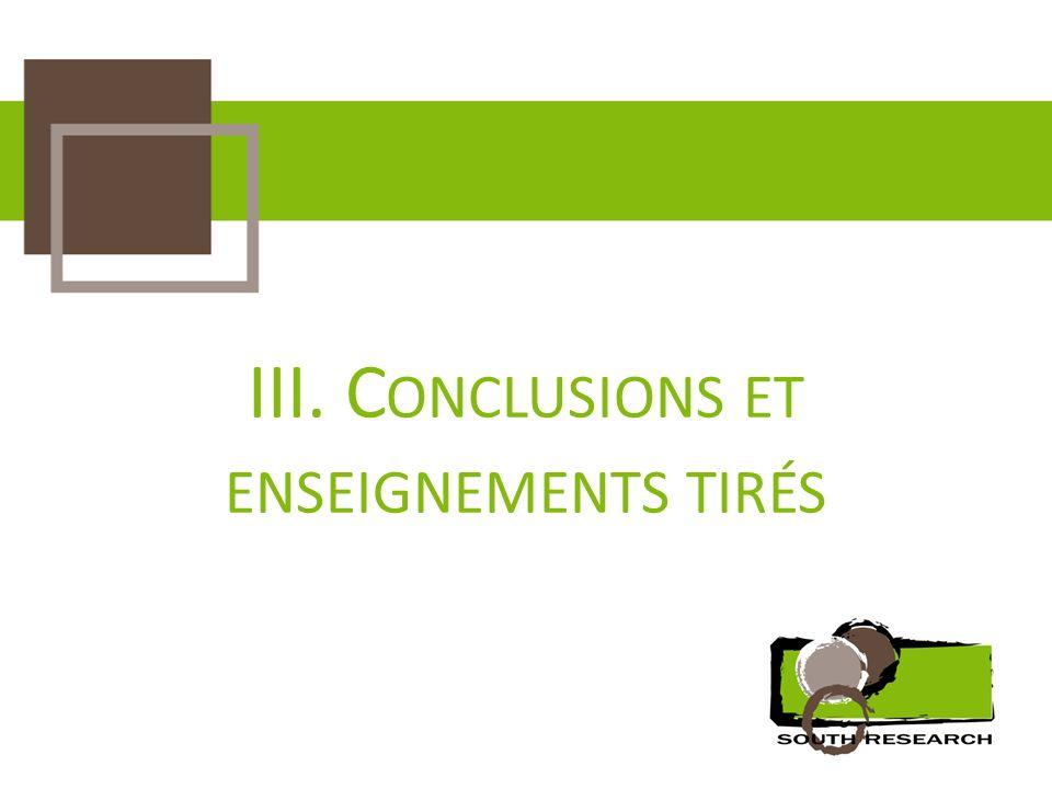 III. C ONCLUSIONS ET ENSEIGNEMENTS TIRÉS
