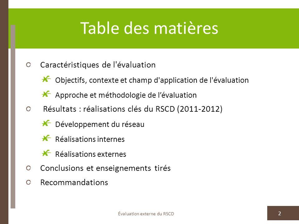 Table des matières Caractéristiques de l'évaluation Objectifs, contexte et champ d'application de l'évaluation Approche et méthodologie de lévaluation