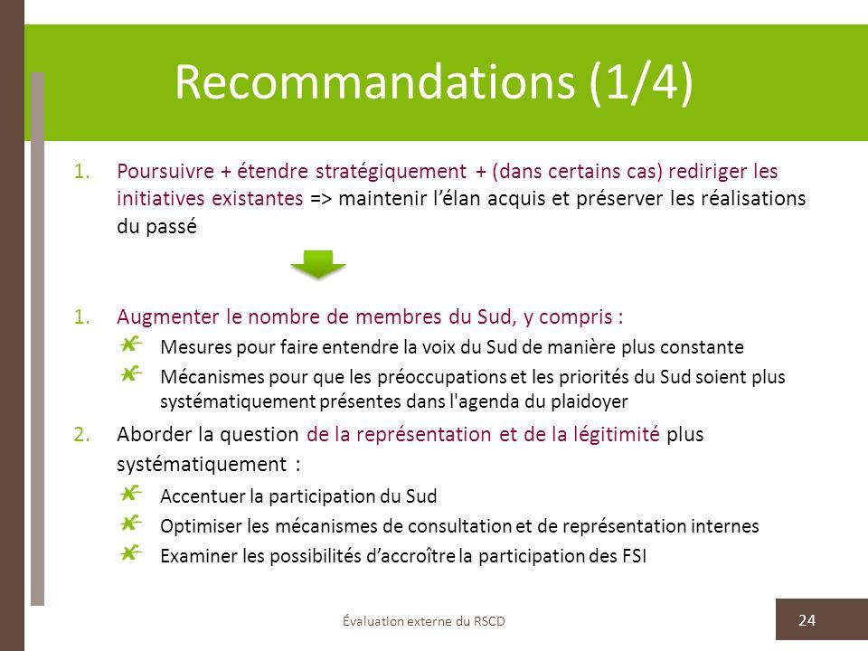 Recommandations (1/4) Évaluation externe du RSCD 24 1.Poursuivre + étendre stratégiquement + (dans certains cas) rediriger les initiatives existantes
