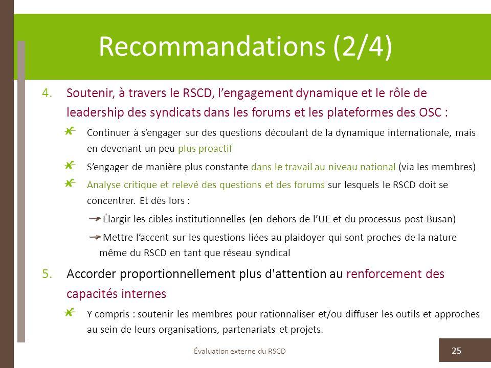 Recommandations (2/4) Évaluation externe du RSCD 25 4.Soutenir, à travers le RSCD, lengagement dynamique et le rôle de leadership des syndicats dans l