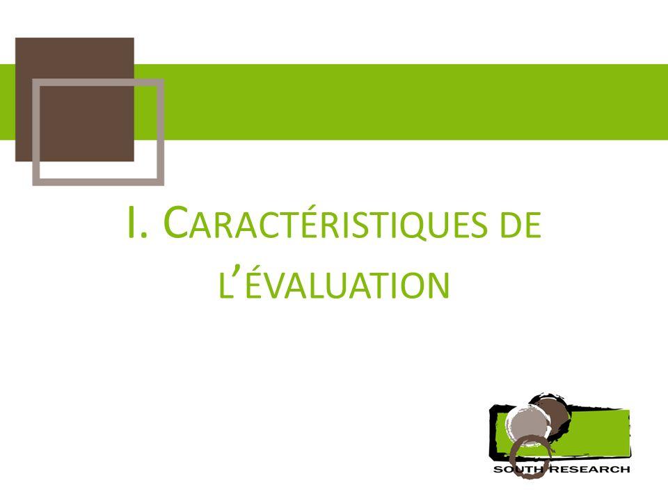 I. C ARACTÉRISTIQUES DE L ÉVALUATION