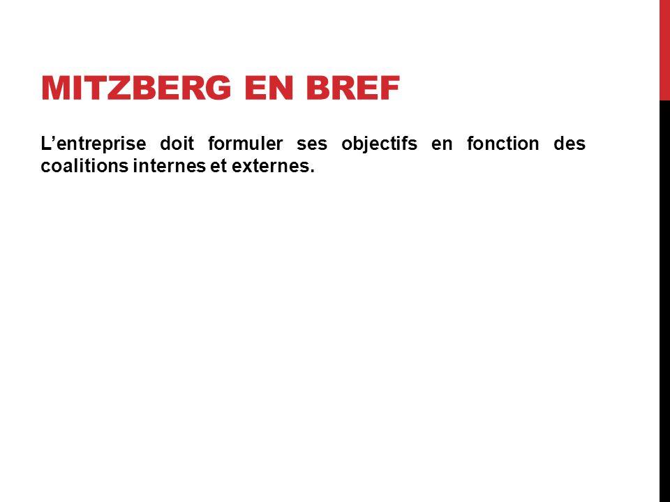 MITZBERG EN BREF Lentreprise doit formuler ses objectifs en fonction des coalitions internes et externes.