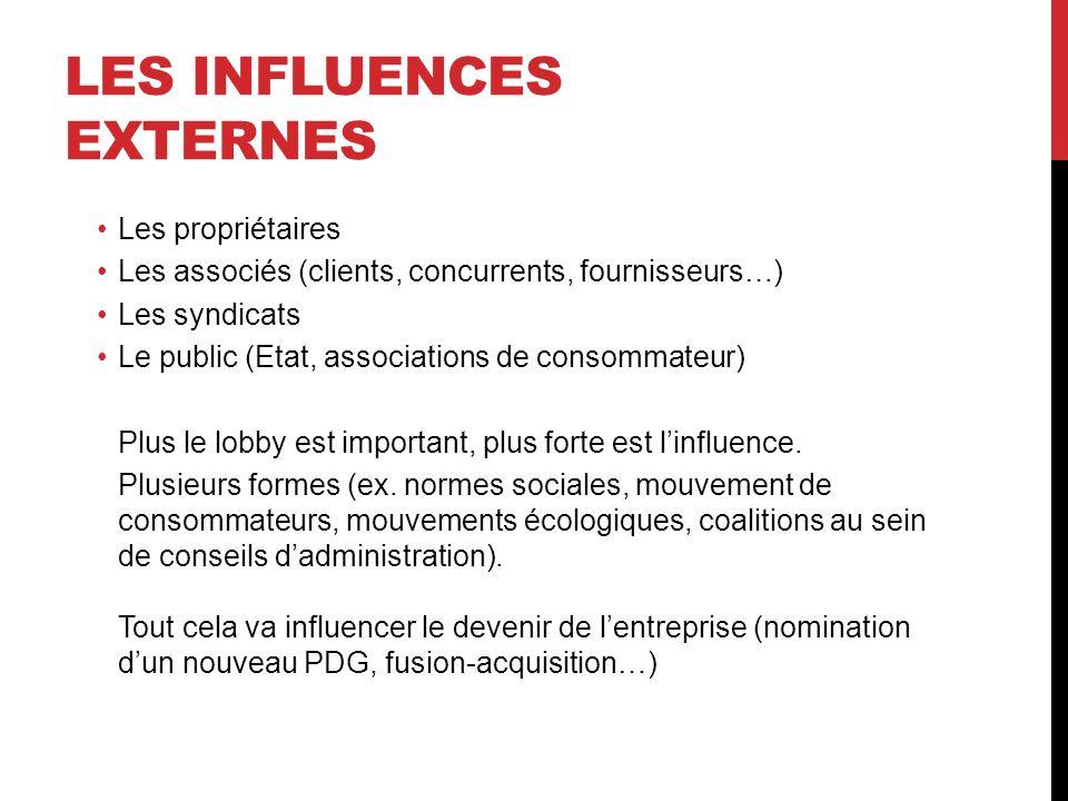 LES INFLUENCES EXTERNES Les propriétaires Les associés (clients, concurrents, fournisseurs…) Les syndicats Le public (Etat, associations de consommate