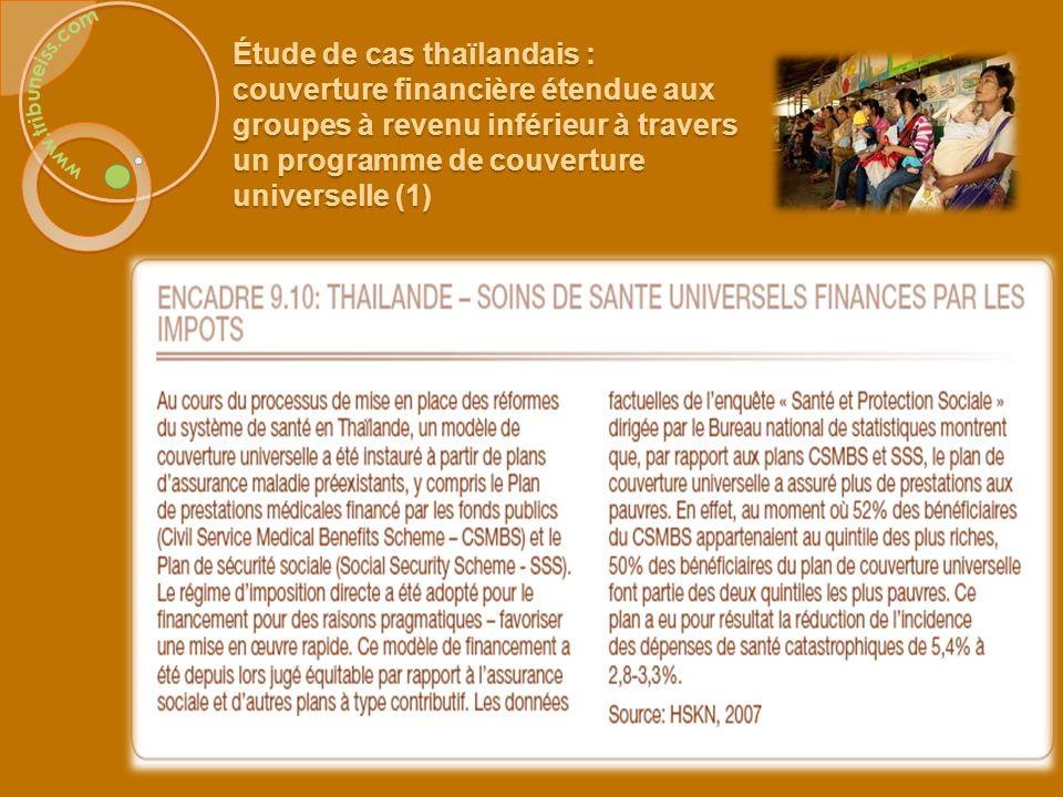 Étude de cas thaïlandais : couverture financière étendue aux groupes à revenu inférieur à travers un programme de couverture universelle (1)