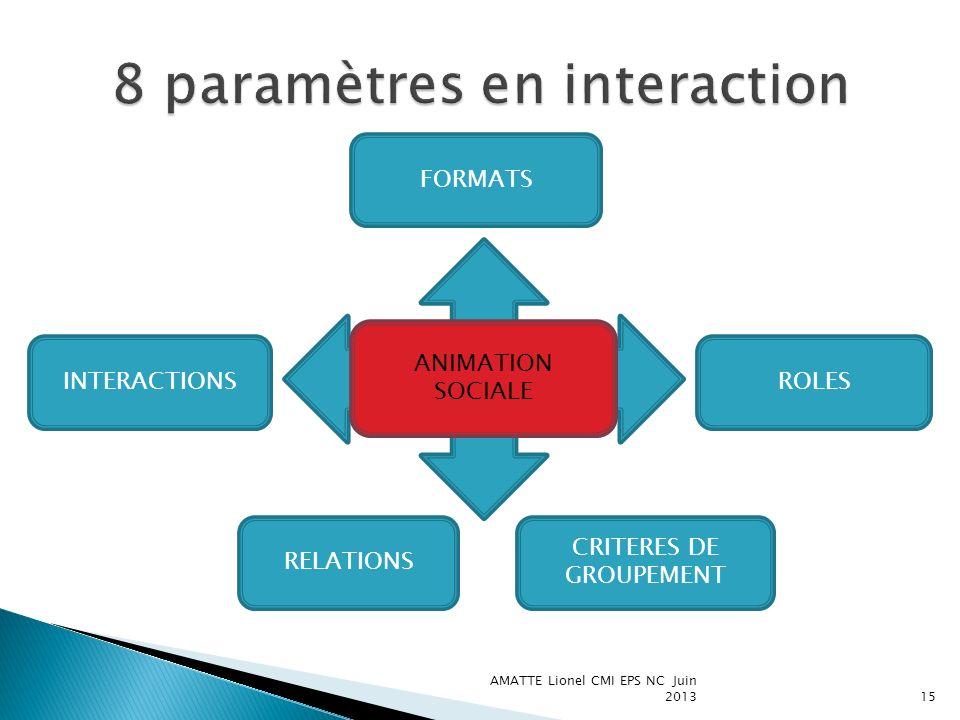 AMATTE Lionel CMI EPS NC Juin 201315 FORMATS ANIMATION SOCIALE INTERACTIONS RELATIONS ROLES CRITERES DE GROUPEMENT