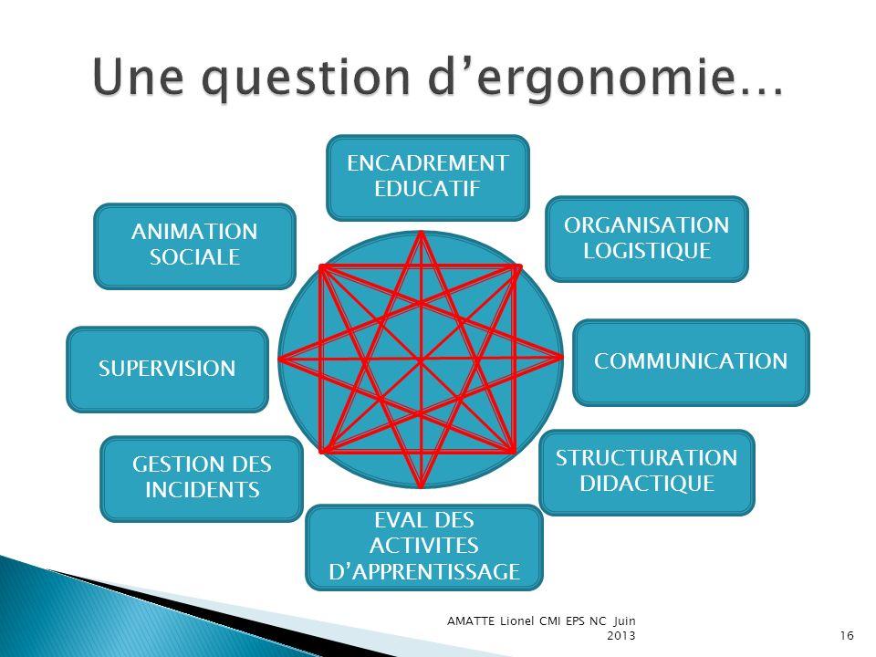 AMATTE Lionel CMI EPS NC Juin 201316 ANIMATION SOCIALE ENCADREMENT EDUCATIF SUPERVISION GESTION DES INCIDENTS ORGANISATION LOGISTIQUE COMMUNICATION ST