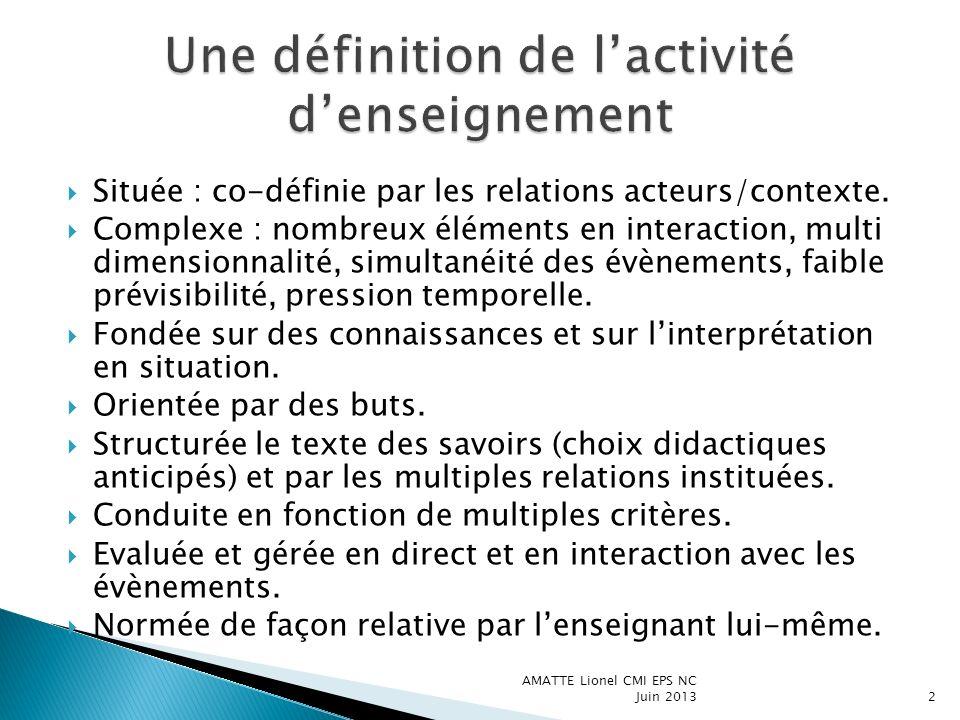Située : co-définie par les relations acteurs/contexte. Complexe : nombreux éléments en interaction, multi dimensionnalité, simultanéité des évènement