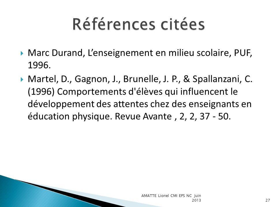 Marc Durand, Lenseignement en milieu scolaire, PUF, 1996. Martel, D., Gagnon, J., Brunelle, J. P., & Spallanzani, C. (1996) Comportements d'élèves qui