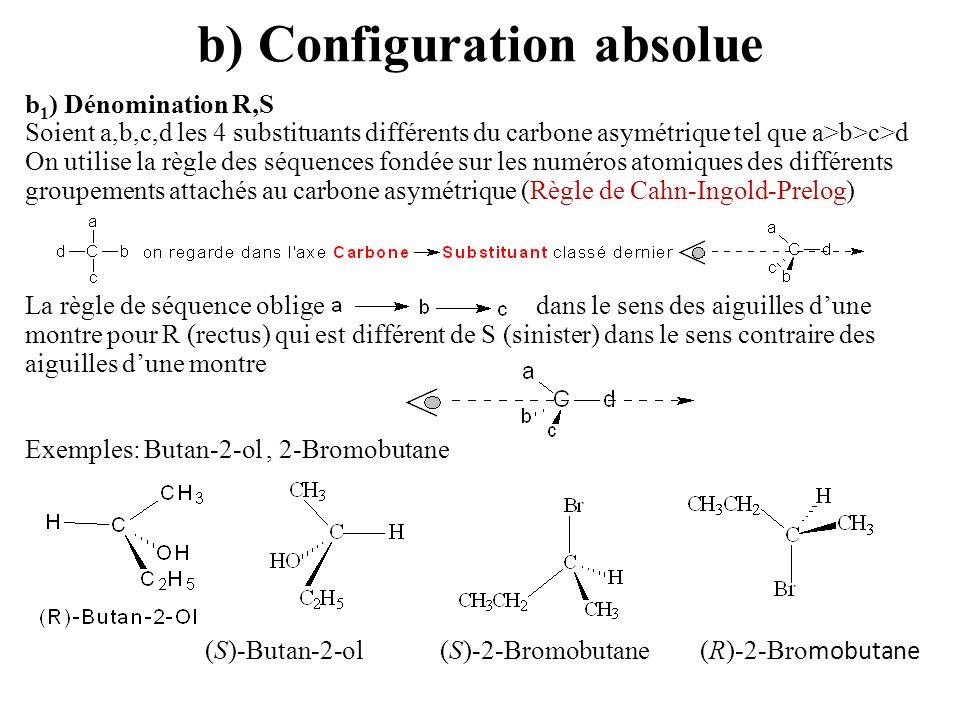b) Configuration absolue b 1 ) Dénomination R,S Soient a,b,c,d les 4 substituants différents du carbone asymétrique tel que a>b>c>d On utilise la règl