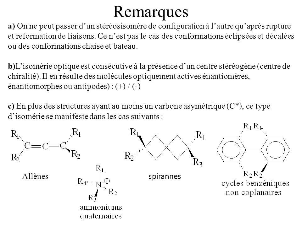 Remarques a) On ne peut passer dun stéréosisomère de configuration à lautre quaprès rupture et reformation de liaisons. Ce nest pas le cas des conform