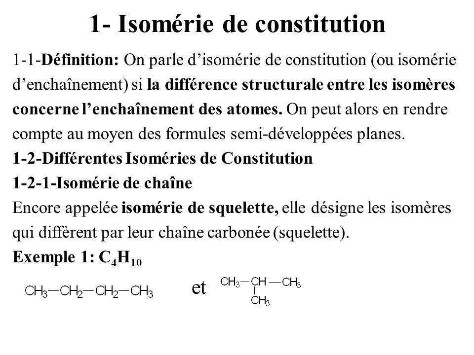 1- Isomérie de constitution 1-1-Définition: On parle disomérie de constitution (ou isomérie denchaînement) si la différence structurale entre les isom