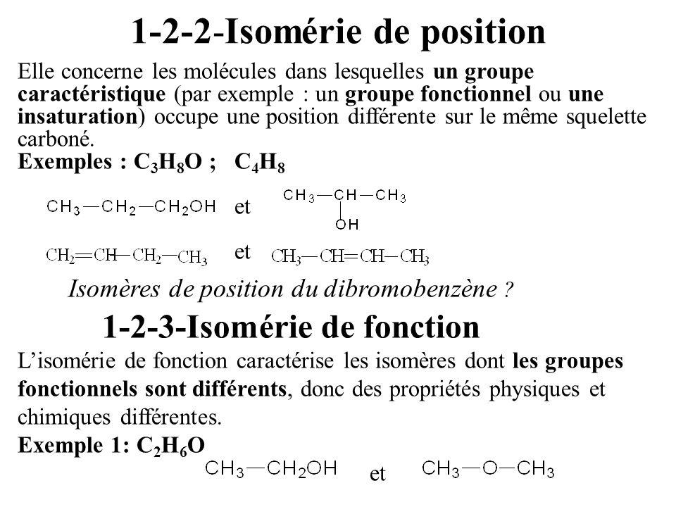 1-2-2-Isomérie de position Elle concerne les molécules dans lesquelles un groupe caractéristique (par exemple : un groupe fonctionnel ou une insaturat