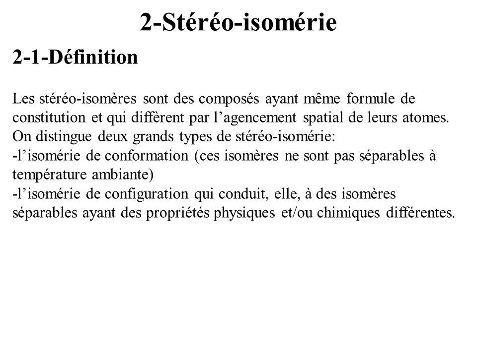 2-Stéréo-isomérie 2-1-Définition Les stéréo-isomères sont des composés ayant même formule de constitution et qui diffèrent par lagencement spatial de
