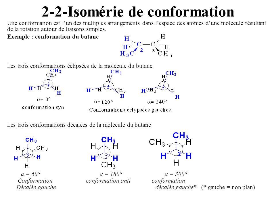 2-2-Isomérie de conformation Une conformation est lun des multiples arrangements dans lespace des atomes dune molécule résultant de la rotation autour