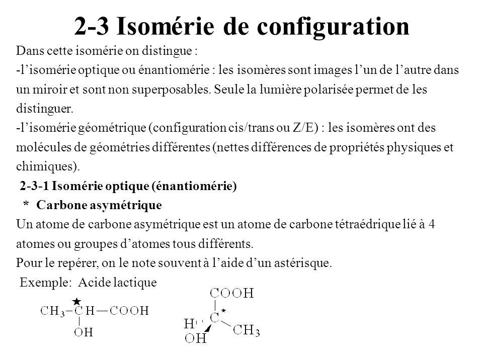 2-3 Isomérie de configuration Dans cette isomérie on distingue : -lisomérie optique ou énantiomérie : les isomères sont images lun de lautre dans un m