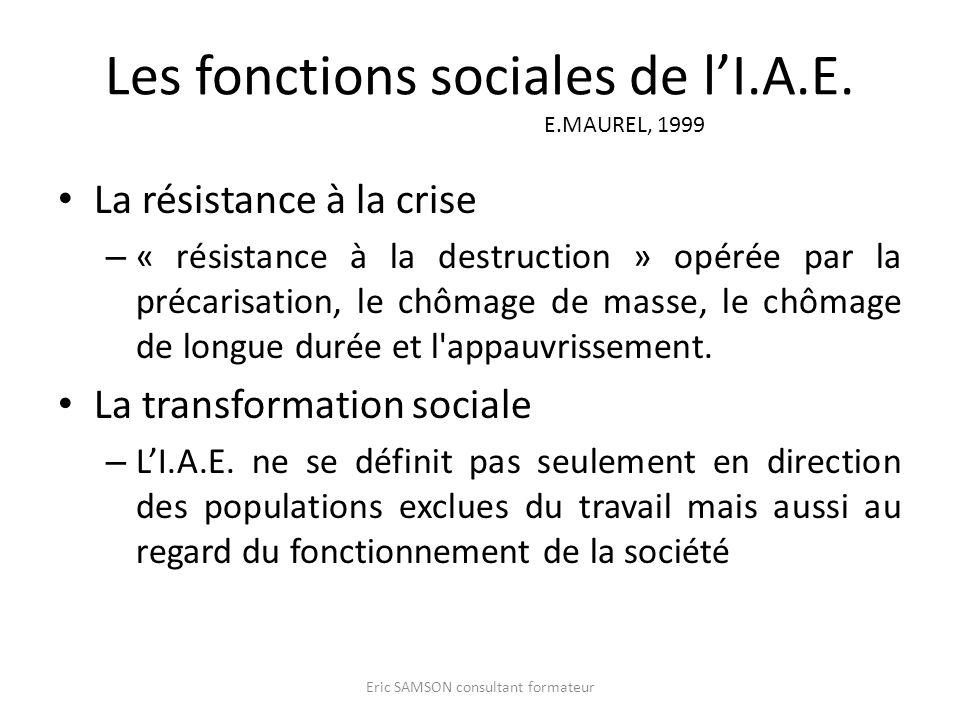 Les fonctions sociales de lI.A.E. E.MAUREL, 1999 La résistance à la crise – « résistance à la destruction » opérée par la précarisation, le chômage de