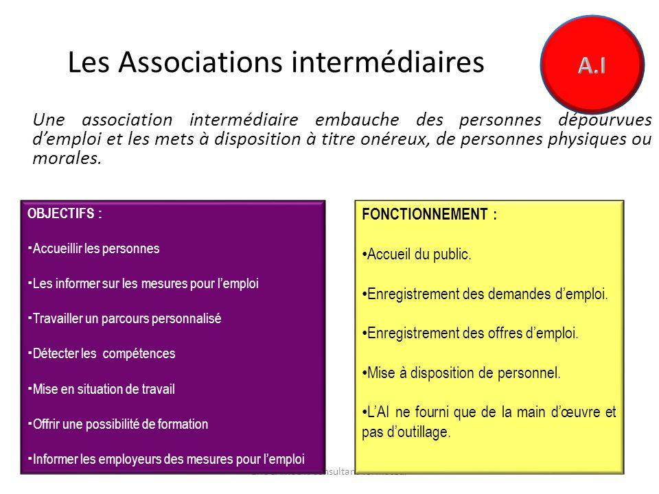 Les Associations intermédiaires Une association intermédiaire embauche des personnes dépourvues demploi et les mets à disposition à titre onéreux, de personnes physiques ou morales.