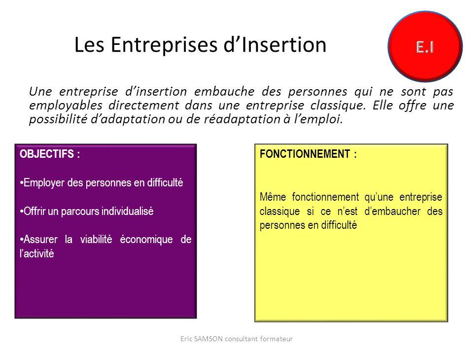 Les Entreprises dInsertion Une entreprise dinsertion embauche des personnes qui ne sont pas employables directement dans une entreprise classique.