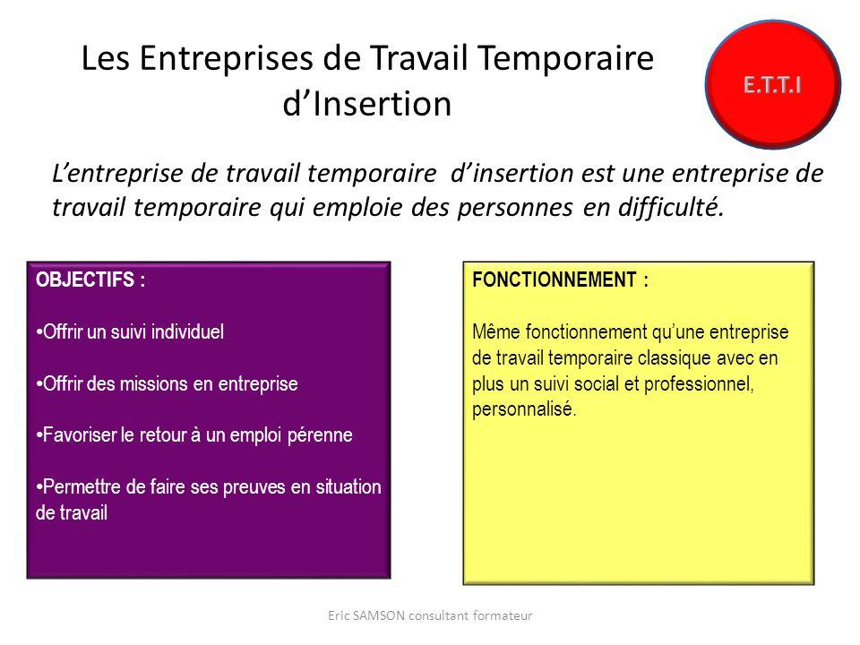 Les Entreprises de Travail Temporaire dInsertion Lentreprise de travail temporaire dinsertion est une entreprise de travail temporaire qui emploie des personnes en difficulté.
