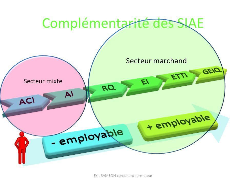 Complémentarité des SIAE Eric SAMSON consultant formateur Secteur mixte Secteur marchand