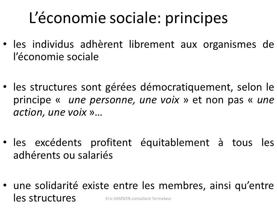 Léconomie sociale: principes les individus adhèrent librement aux organismes de léconomie sociale les structures sont gérées démocratiquement, selon l