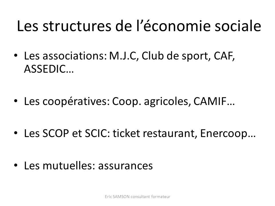 Les structures de léconomie sociale Les associations: M.J.C, Club de sport, CAF, ASSEDIC… Les coopératives: Coop. agricoles, CAMIF… Les SCOP et SCIC: