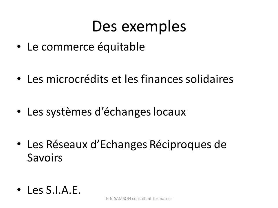 Des exemples Le commerce équitable Les microcrédits et les finances solidaires Les systèmes déchanges locaux Les Réseaux dEchanges Réciproques de Savo