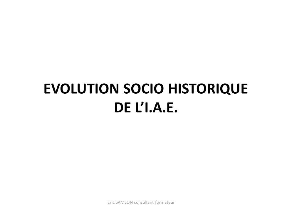 EVOLUTION SOCIO HISTORIQUE DE LI.A.E. Eric SAMSON consultant formateur