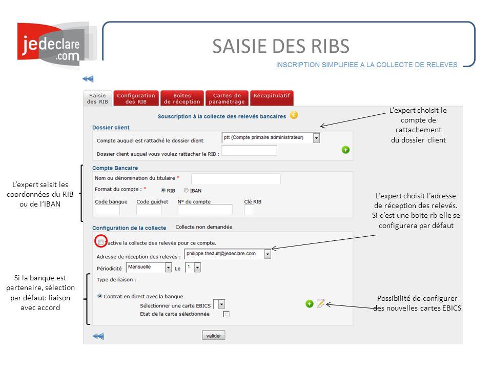 SAISIE DES RIBS Lexpert choisit le compte de rattachement du dossier client Lexpert saisit les coordonnées du RIB ou de lIBAN Lexpert choisit ladresse de réception des relevés.
