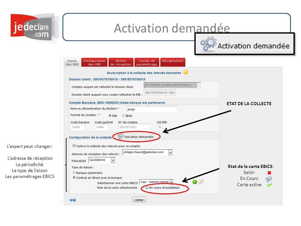 Activation demandée Lexpert peut changer: Ladresse de réception La périodicité Le type de liaison Les paramétrages EBICS Etat de la carte EBICS: Saisi