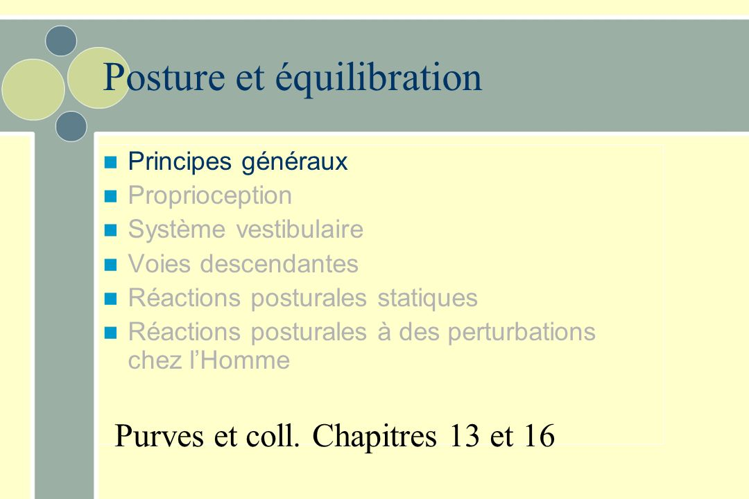 Posture et équilibration Principes généraux Proprioception Système vestibulaire Voies descendantes Réactions posturales statiques Réactions posturales