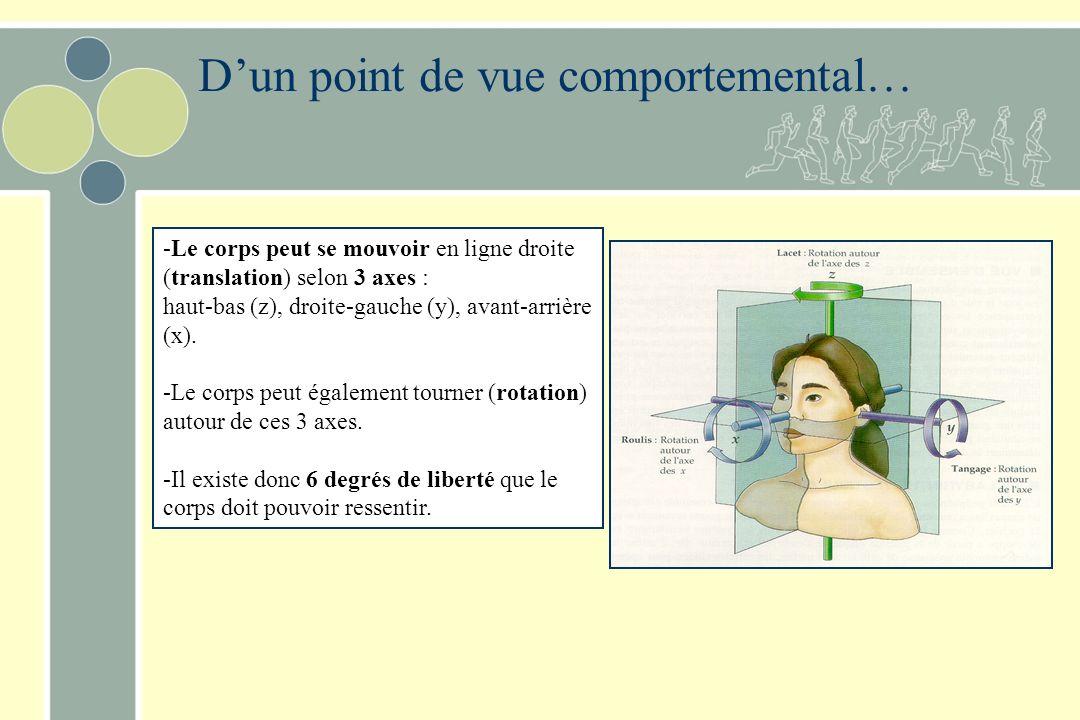 Rôle du système vestibulaire Joue un rôle important dans : –La posture –Les mouvements –La direction du regard vers une cible (mouvements oculaires) –