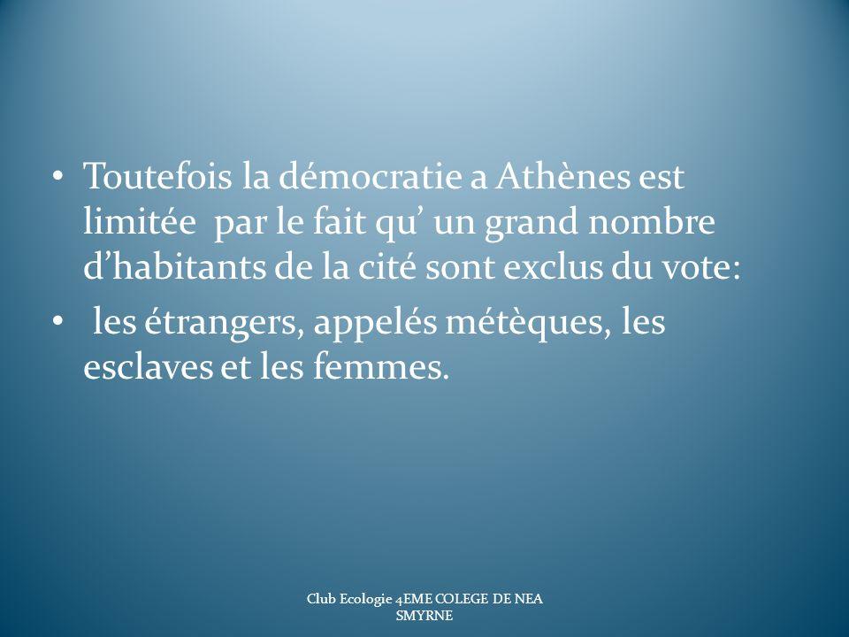 Toutefois la démocratie a Athènes est limitée par le fait qu un grand nombre dhabitants de la cité sont exclus du vote: les étrangers, appelés métèque