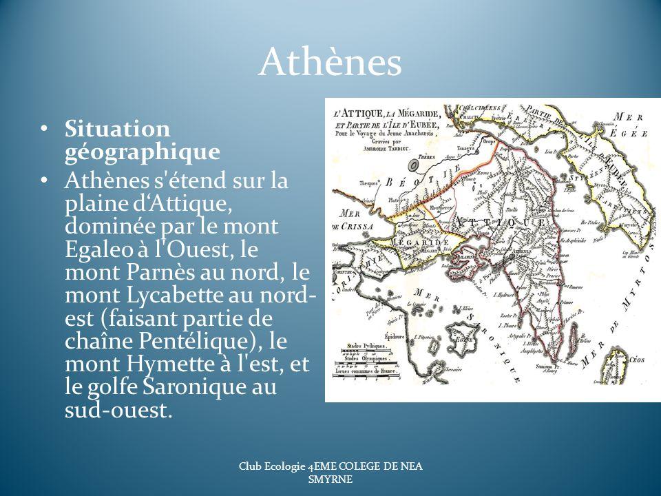 Athènes Situation géographique Athènes s'étend sur la plaine dAttique, dominée par le mont Egaleo à l'Ouest, le mont Parnès au nord, le mont Lycabette
