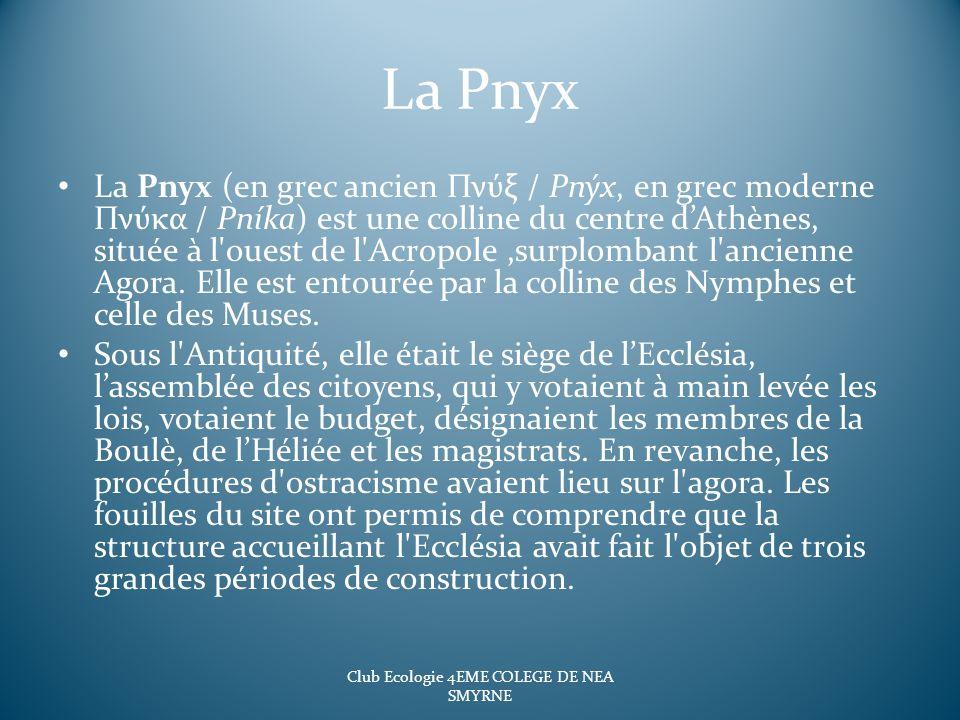 La Pnyx La Pnyx (en grec ancien Πνύξ / Pnýx, en grec moderne Πνύκα / Pníka) est une colline du centre dAthènes, située à l'ouest de l'Acropole,surplom