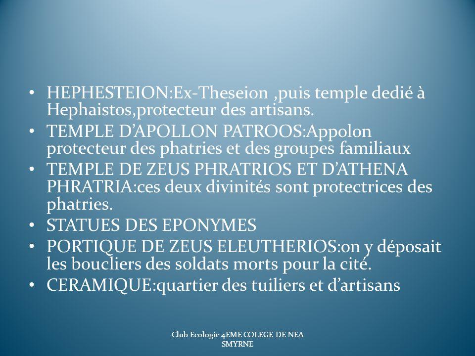 HEPHESTEION:Ex-Theseion,puis temple dedié à Hephaistos,protecteur des artisans. TEMPLE DAPOLLON PATROOS:Appolon protecteur des phatries et des groupes