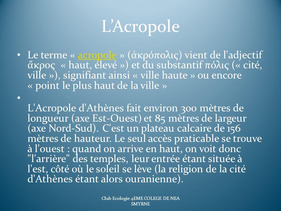 LAcropole Le terme « acropole » ( κρόπολις) vient de l'adjectif κρος « haut, élevé ») et du substantif πόλις (« cité, ville »), signifiant ainsi « vil