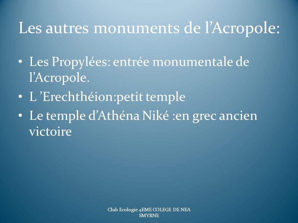 Les autres monuments de lAcropole: Les Propylées: entrée monumentale de lAcropole. L Erechthéion:petit temple Le temple dAthéna Niké :en grec ancien v