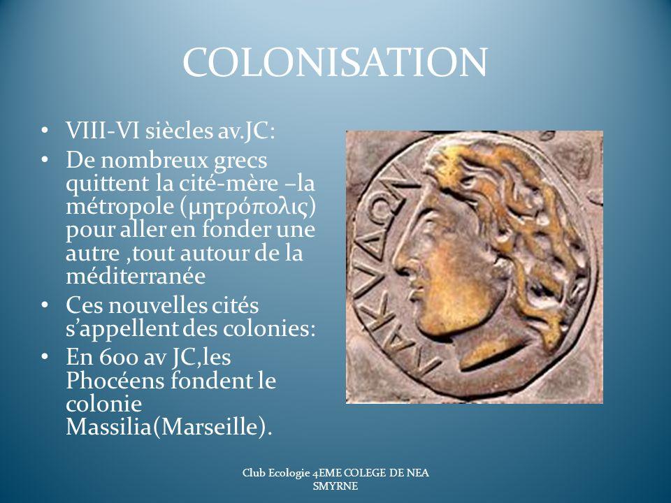 COLONISATION VIII-VI siècles av.JC: De nombreux grecs quittent la cité-mère –la métropole (μητρόπολις) pour aller en fonder une autre,tout autour de l