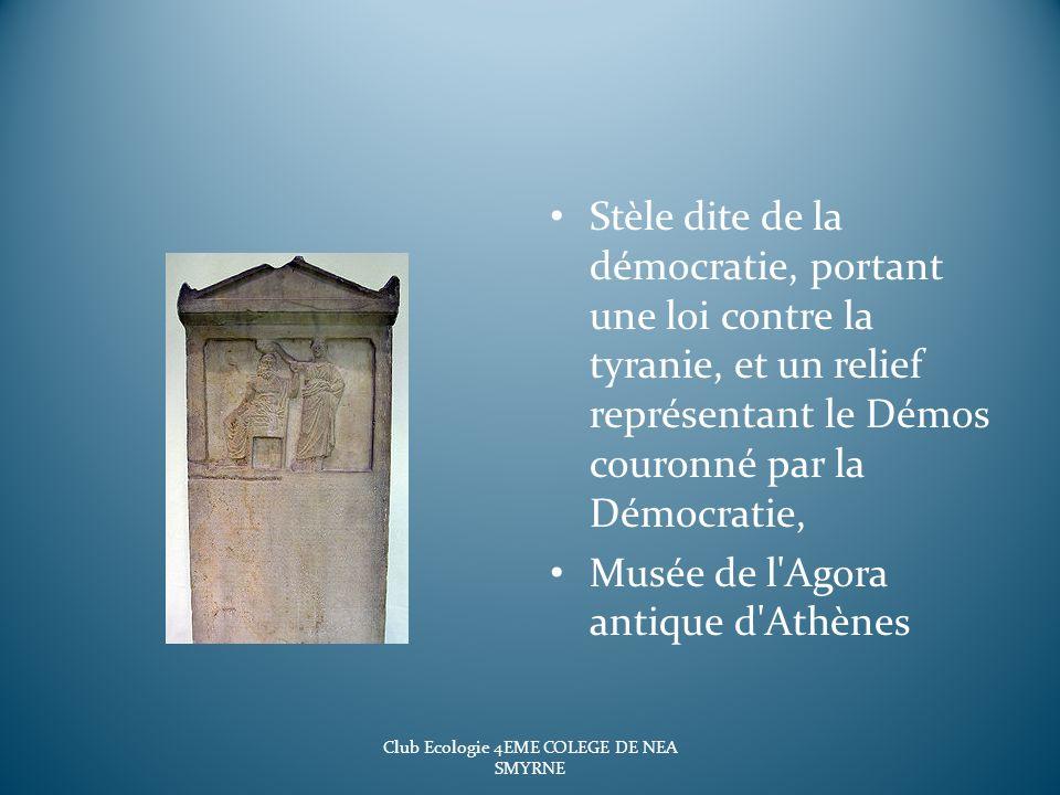 Stèle dite de la démocratie, portant une loi contre la tyranie, et un relief représentant le Démos couronné par la Démocratie, Musée de l'Agora antiqu