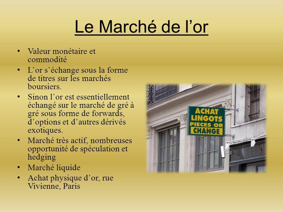 Le Marché de lor Valeur monétaire et commodité Lor séchange sous la forme de titres sur les marchés boursiers.