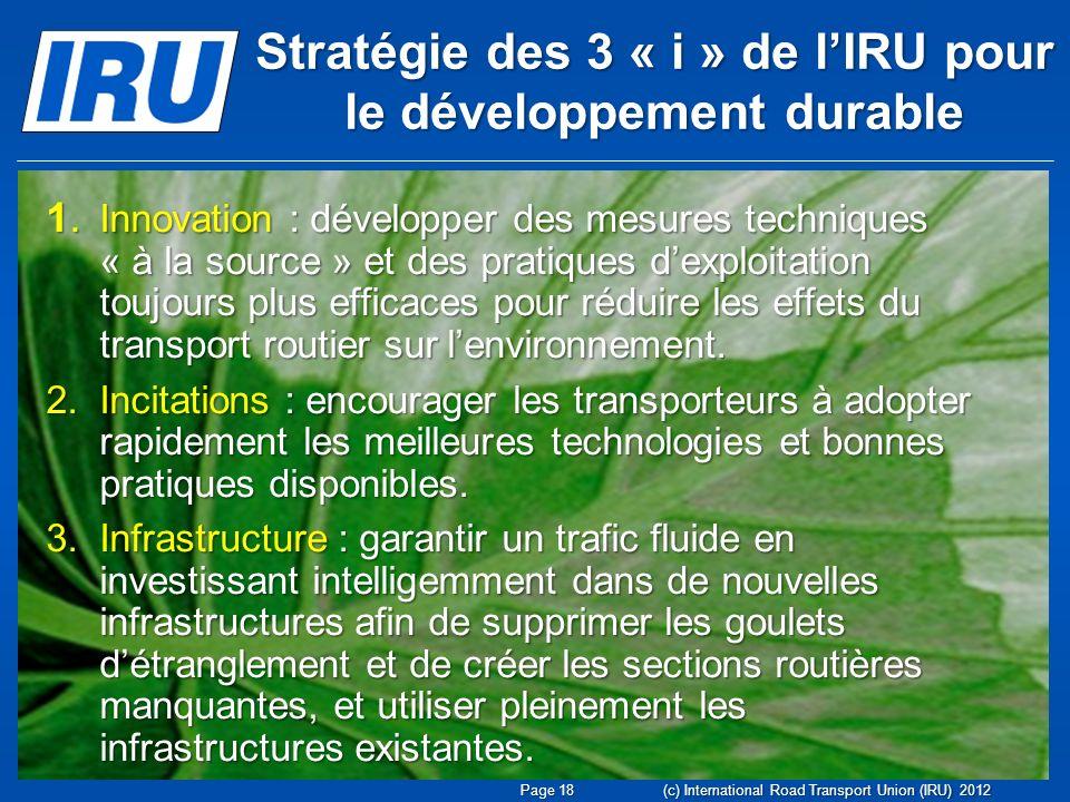 Stratégie des 3 « i » de lIRU pour le développement durable (c) International Road Transport Union (IRU) 2012 1. Innovation : développer des mesures t