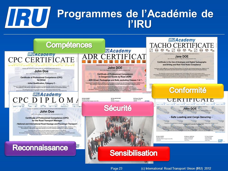 Programmes de lAcadémie de lIRU Page 23 (c) International Road Transport Union (IRU) 2012