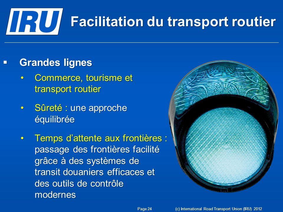 Facilitation du transport routier Grandes lignes Grandes lignes Commerce, tourisme et transport routierCommerce, tourisme et transport routier Sûreté