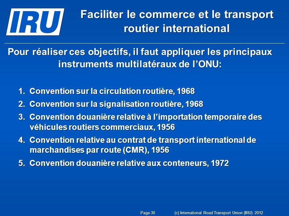 Page 30 (c) International Road Transport Union (IRU) 2012 Pour réaliser ces objectifs, il faut appliquer les principaux instruments multilatéraux de l