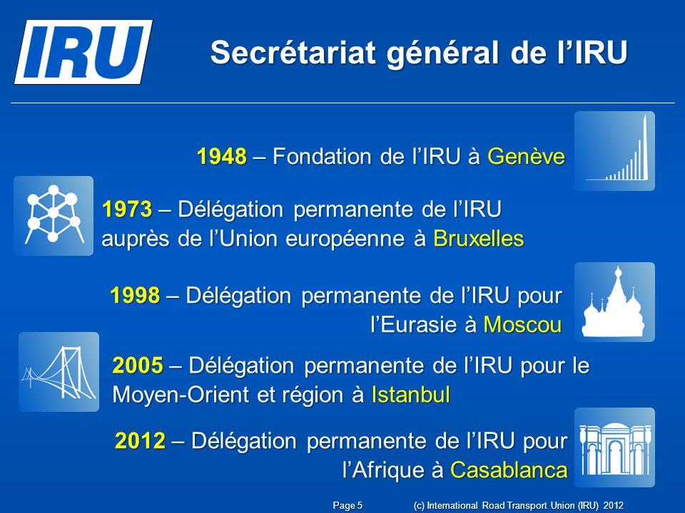 Secrétariat général de lIRU (c) International Road Transport Union (IRU) 2012 Page 5 1948 – Fondation de lIRU à Genève 1973 – Délégation permanente de