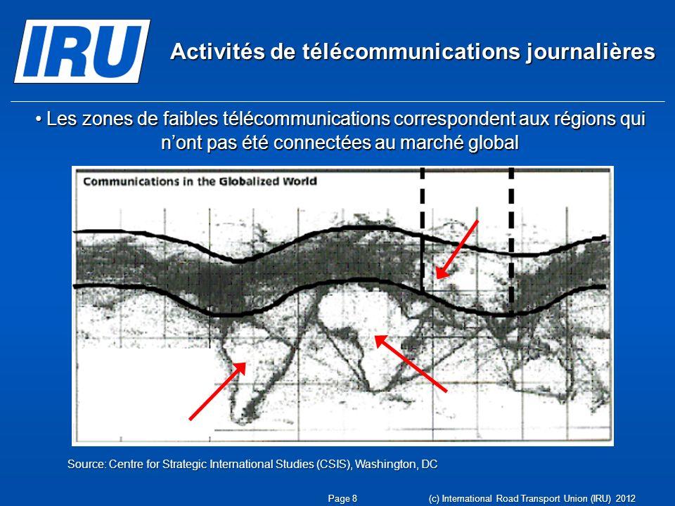 Activités de télécommunications journalières Les zones de faibles télécommunications correspondent aux régions qui nont pas été connectées au marché g